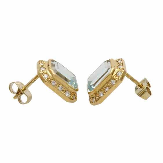 Stud earrings with aquamarine - photo 2