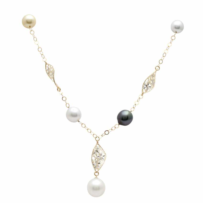Y-necklace with 5 cultivated pearls, - photo 1