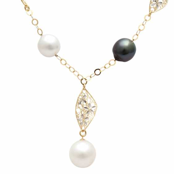 Y-necklace with 5 cultivated pearls, - photo 2