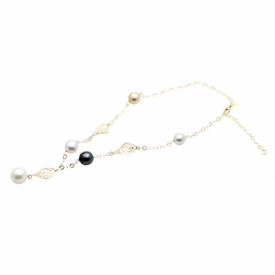 Y-necklace with 5 cultivated pearls, - photo 3