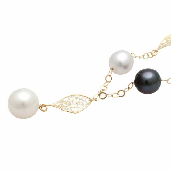 Y-necklace with 5 cultivated pearls, - photo 4