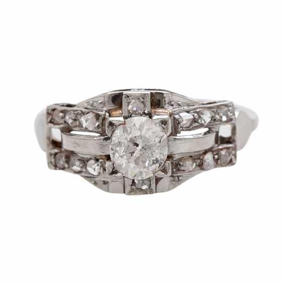 Ring ART DECO 1 old European cut diamond - photo 1