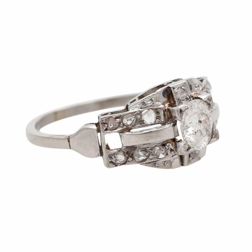 Ring ART DECO 1 old European cut diamond - photo 2