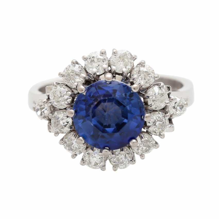 Ring with synthetic corundum and 14 diamonds - photo 1