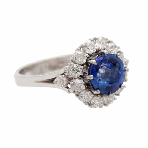 Ring with synthetic corundum and 14 diamonds - photo 2
