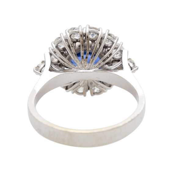 Ring with synthetic corundum and 14 diamonds - photo 4