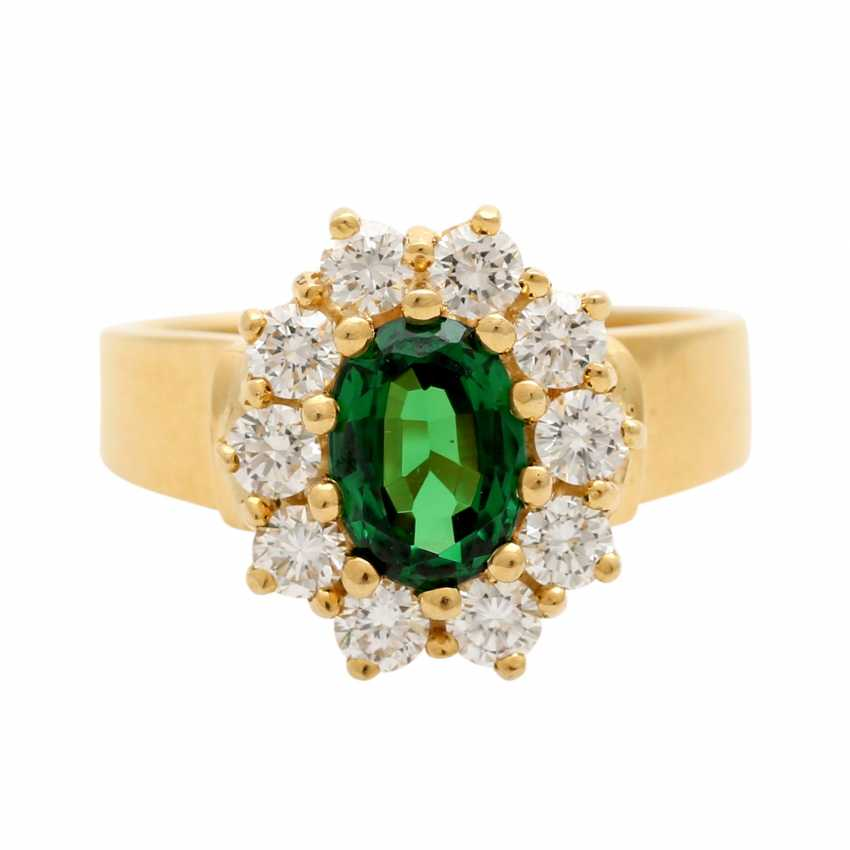 Ring with tsavorite, oval faceted surrounded by 10 brilliant - photo 1