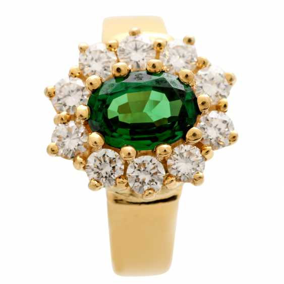 Ring with tsavorite, oval faceted surrounded by 10 brilliant - photo 5