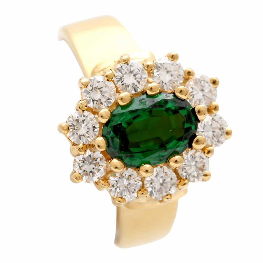 Ring with tsavorite, oval faceted surrounded by 10 brilliant - photo 6