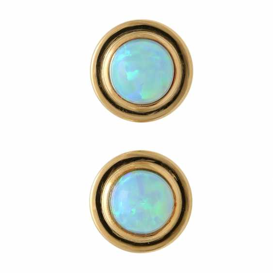 Stud earrings with round opal cabochons, - photo 1