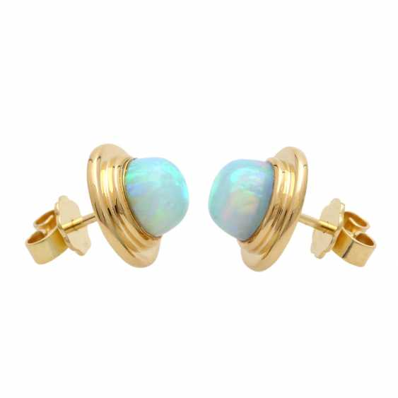 Stud earrings with round opal cabochons, - photo 2