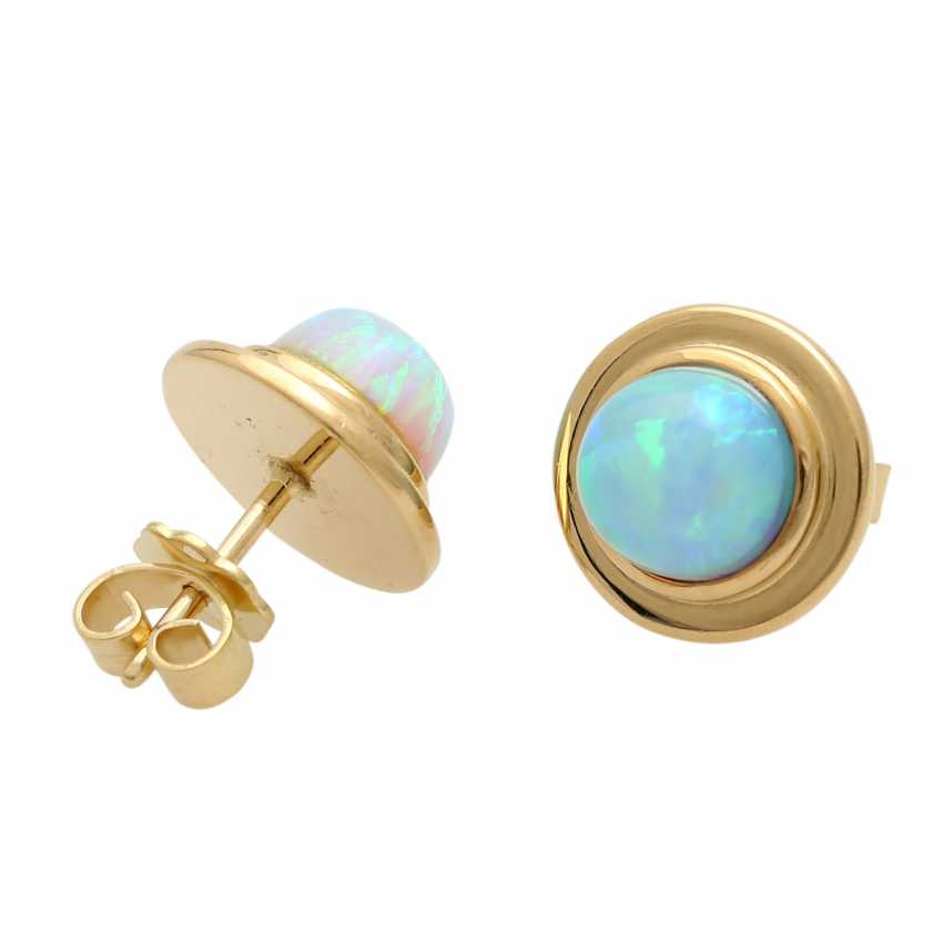 Stud earrings with round opal cabochons, - photo 3
