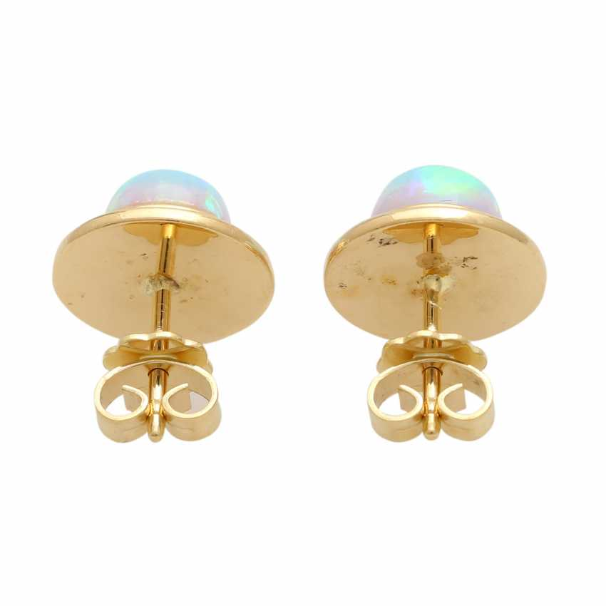 Stud earrings with round opal cabochons, - photo 4