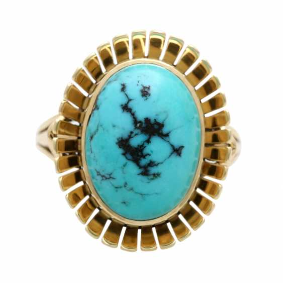 Ring with oval Matrix turquoise, - photo 1