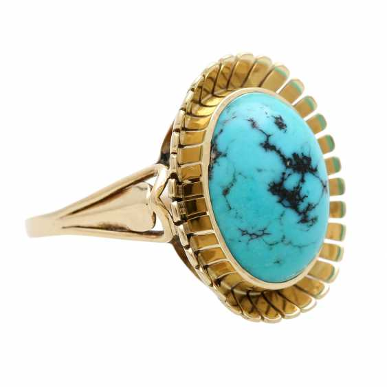 Ring with oval Matrix turquoise, - photo 2