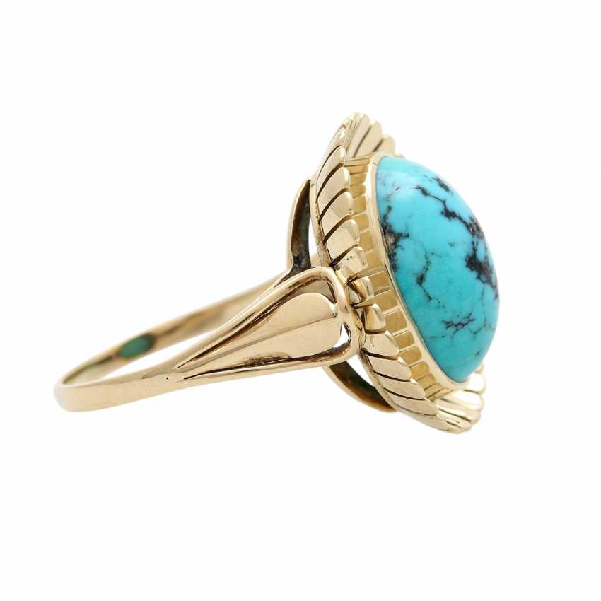 Ring with oval Matrix turquoise, - photo 3
