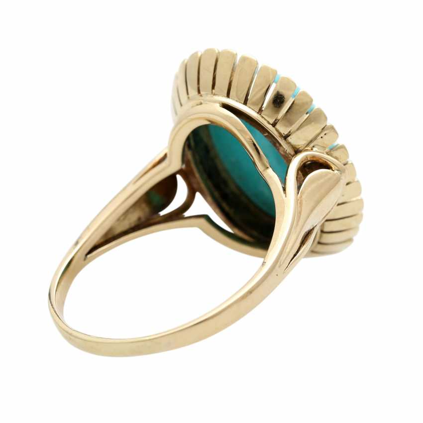 Ring with oval Matrix turquoise, - photo 4