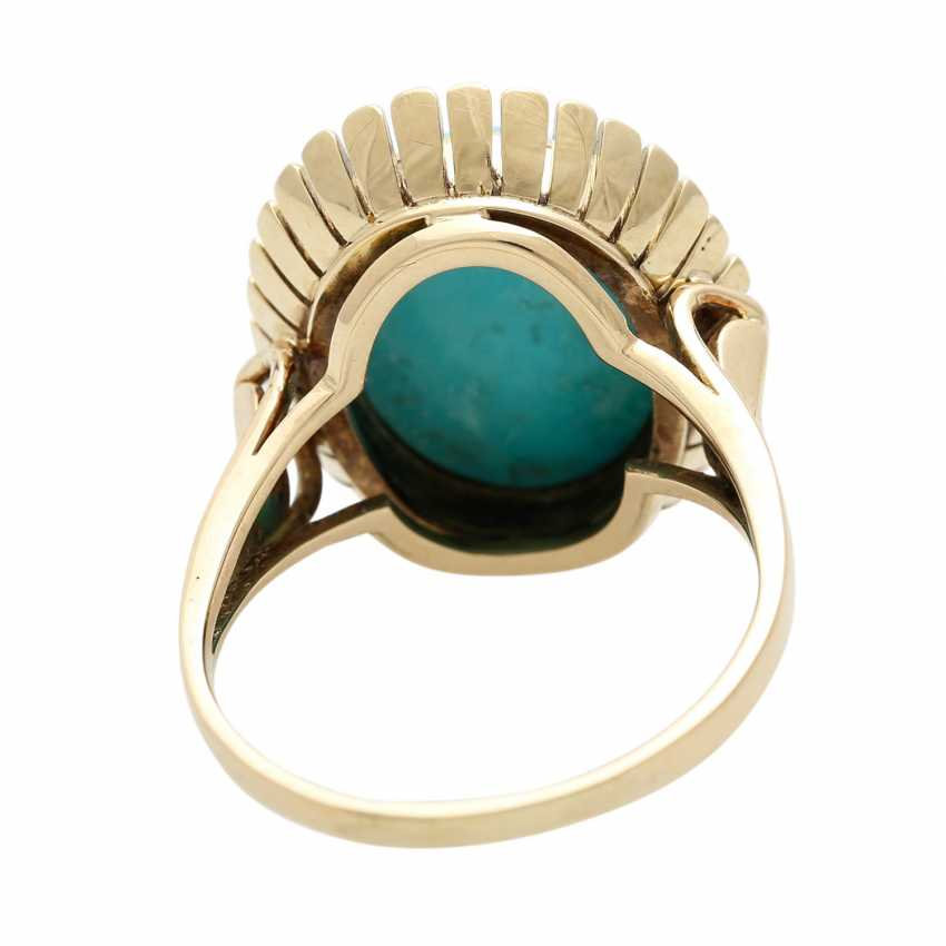 Ring with oval Matrix turquoise, - photo 5