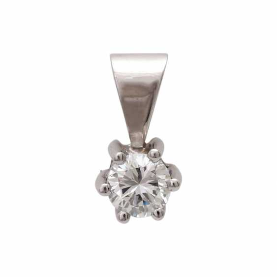 Solitaire pendant, set with diamonds approx 0,34 ct, - photo 1