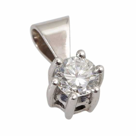 Solitaire pendant, set with diamonds approx 0,34 ct, - photo 2