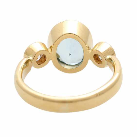 Ladies ring with 1 aquamarine and 2 diamonds - photo 5