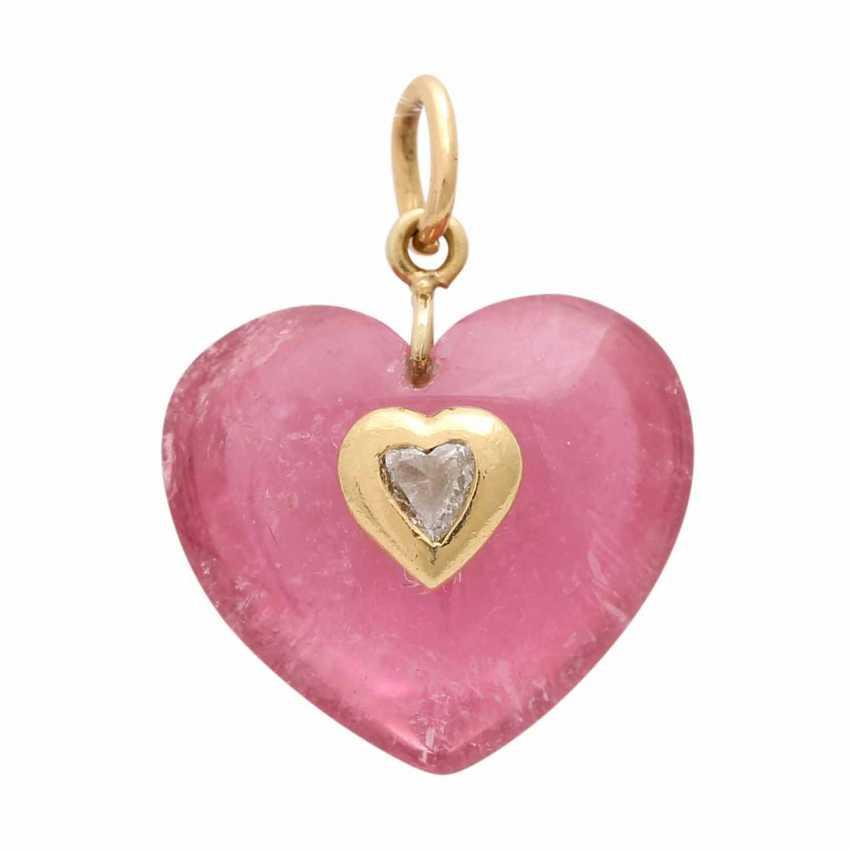 """Pendant """"heart"""" of pink tourmaline - photo 1"""