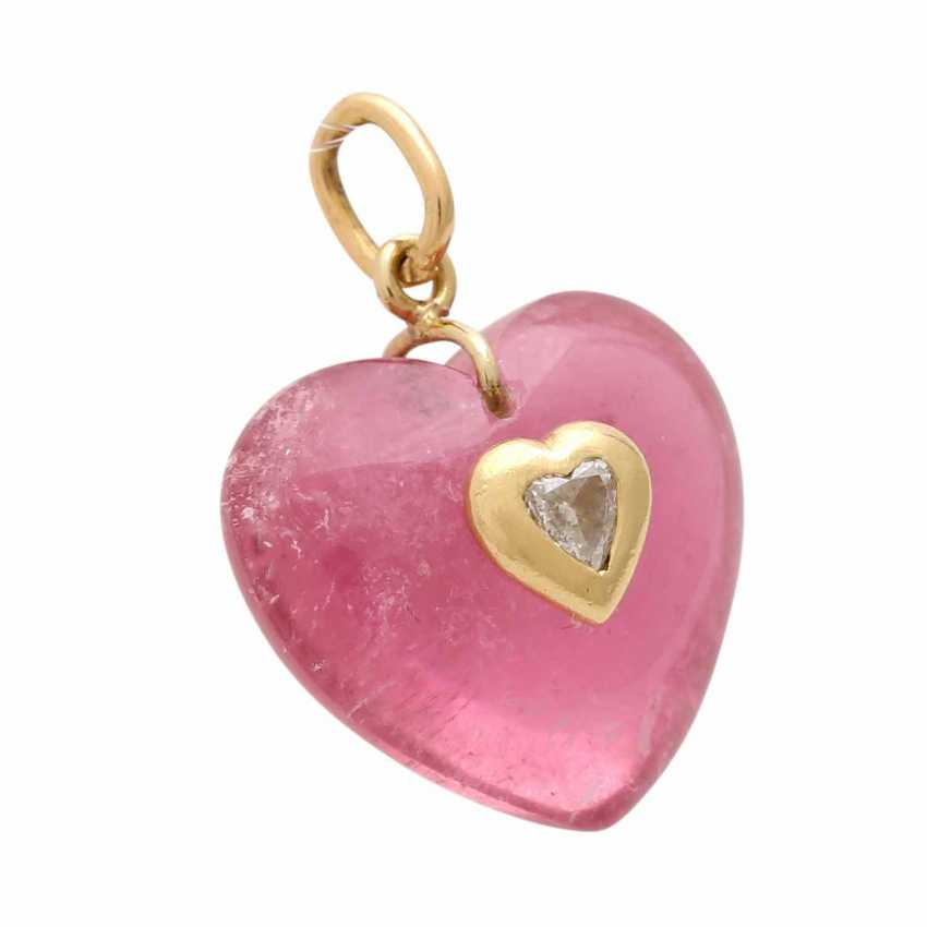"""Pendant """"heart"""" of pink tourmaline - photo 2"""
