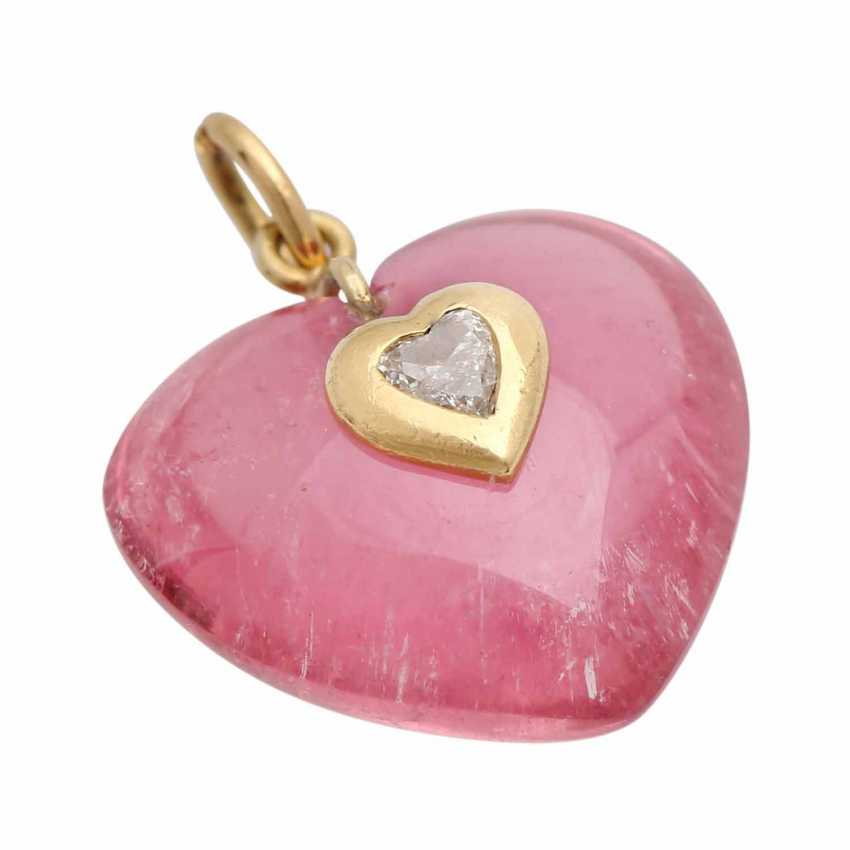 """Pendant """"heart"""" of pink tourmaline - photo 3"""