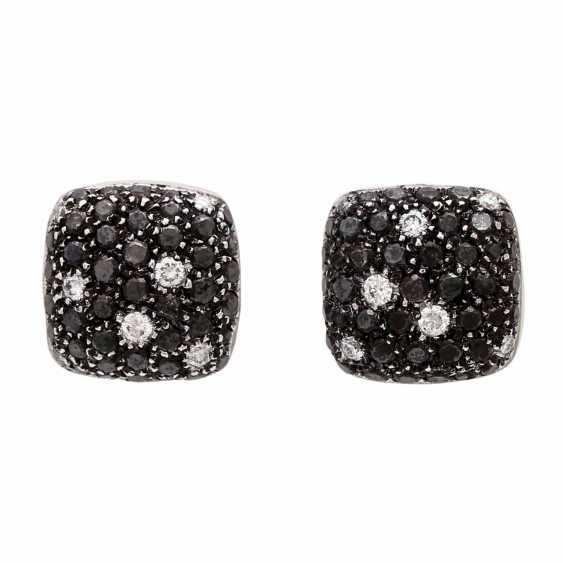 Stud earrings (Pair) studded with black diamonds - photo 1