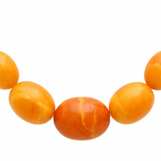 Amber necklace, olive shaped, in the course of, - photo 2