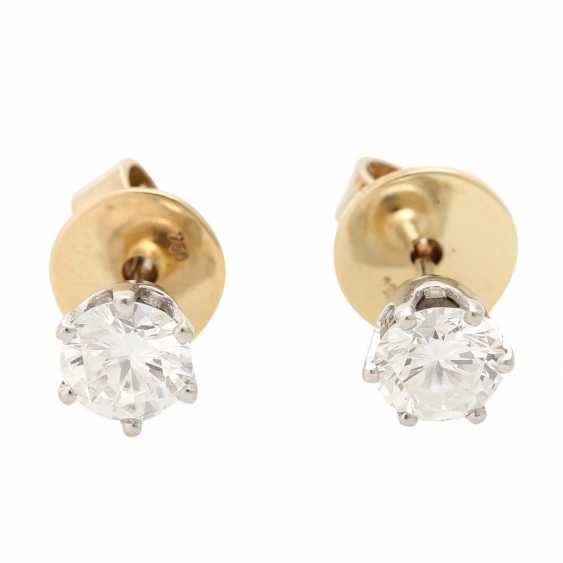 Solitaire stud earrings, each with 1 brilliant cut, together approx. of 1.4 ct, - photo 1