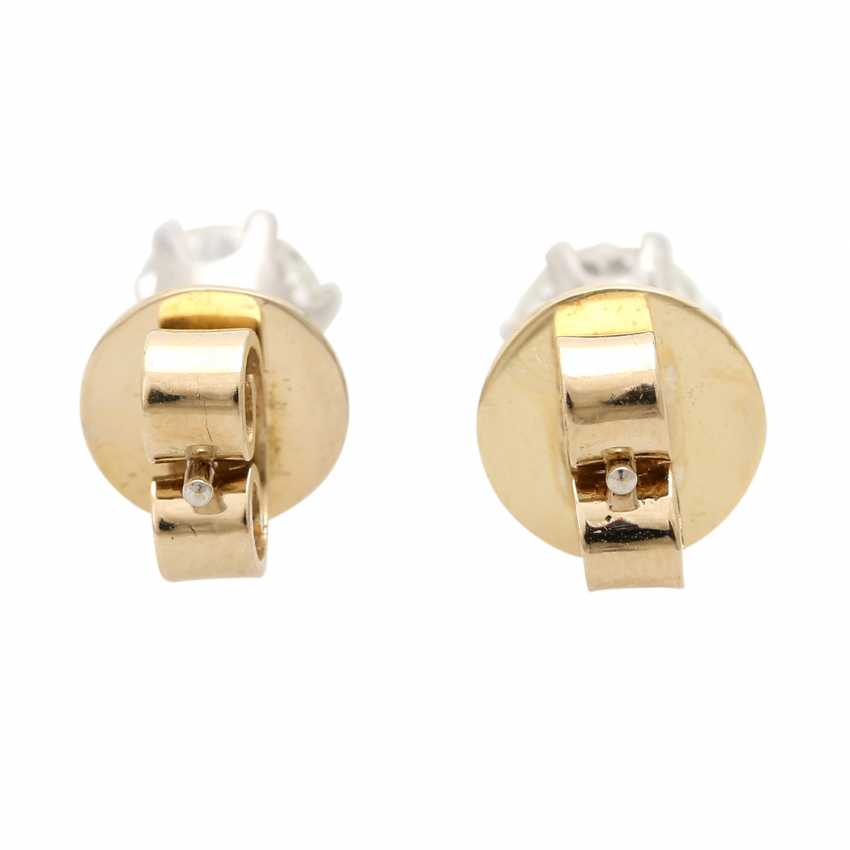Solitaire stud earrings, each with 1 brilliant cut, together approx. of 1.4 ct, - photo 4