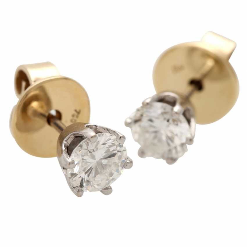 Solitaire stud earrings, each with 1 brilliant cut, together approx. of 1.4 ct, - photo 5