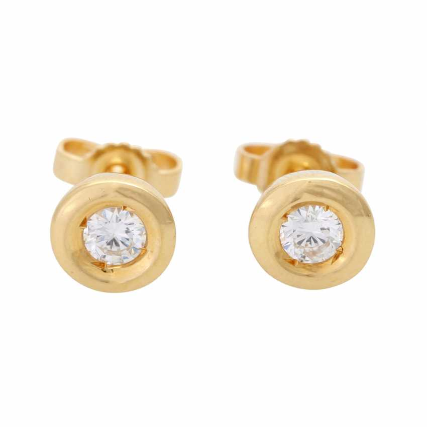 Pair of stud earrings with brilliant - photo 1