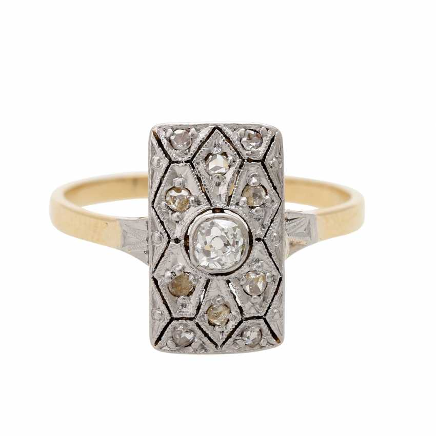 ART DECO ladies ring, centered 1 old European cut diamond - photo 1