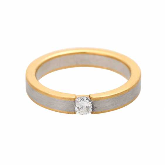 Ladies ring studded with 1 diamond approx 0,20 ct, - photo 1