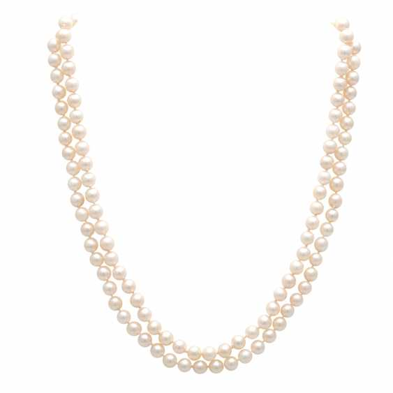 Pearl necklace, 2 breeding - row, Clasp in yellow gold 14 K - photo 1