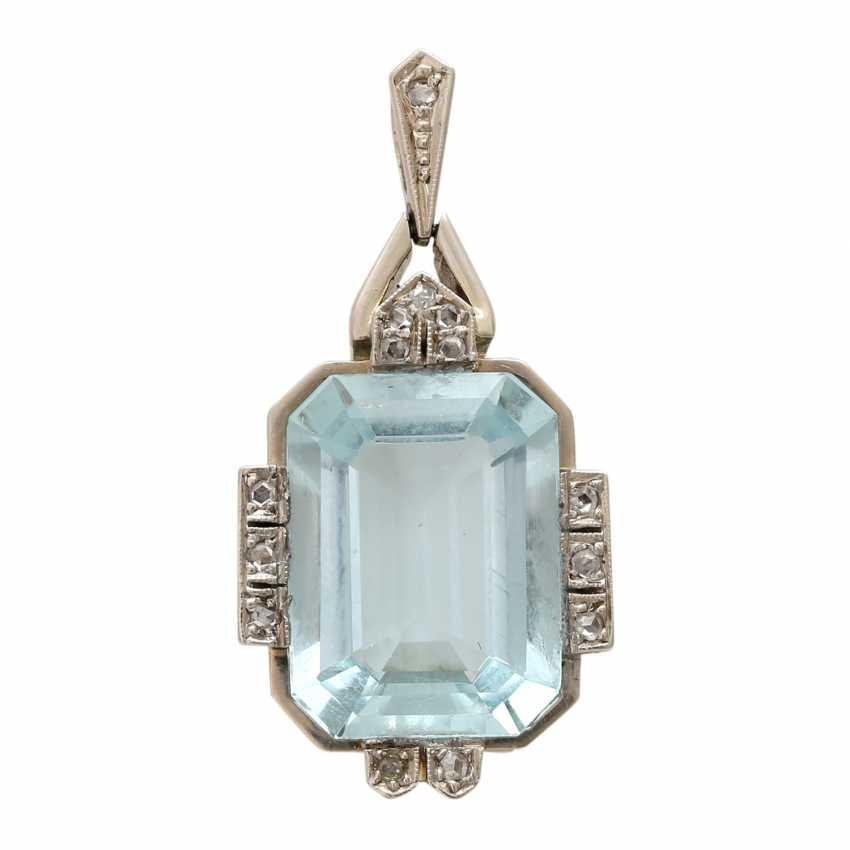 ART DECO pendant with aquamarine. - photo 1