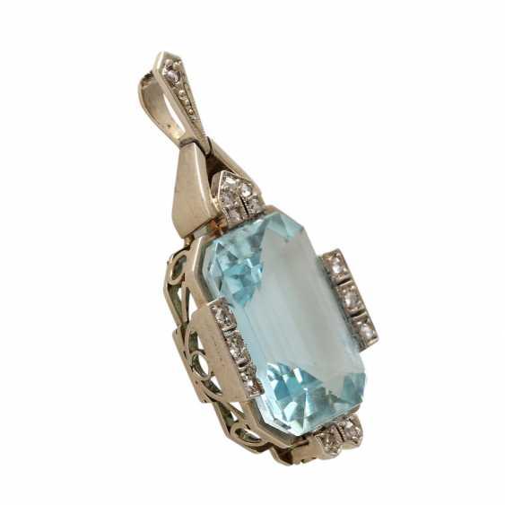 ART DECO pendant with aquamarine. - photo 2