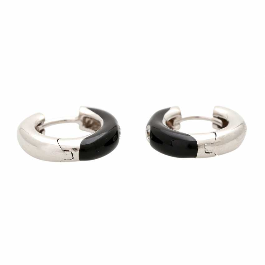 Hoop earrings (Pair), show page with lacquer inlay, - photo 2