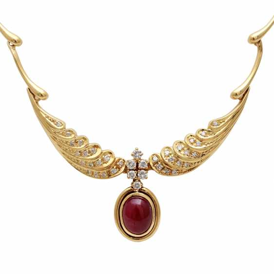 Jewelry with oval-shaped ruby cabochons and diamonds - photo 2