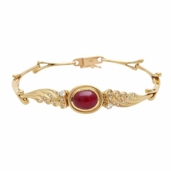 Jewelry with oval-shaped ruby cabochons and diamonds - photo 3