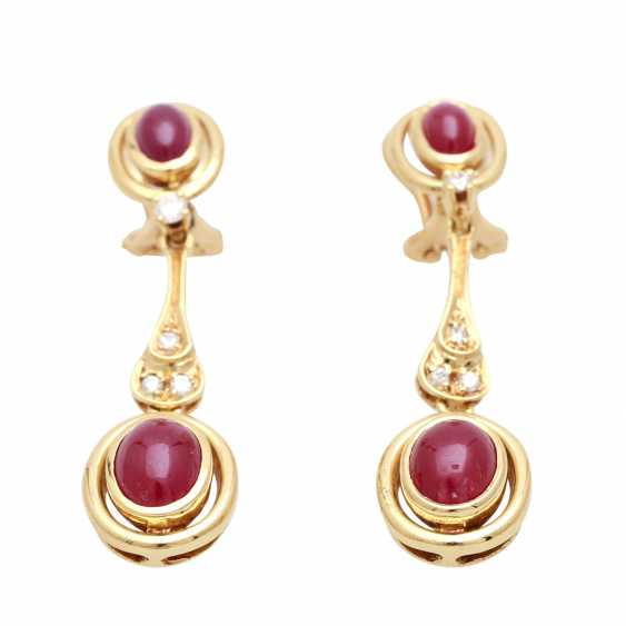 Jewelry with oval-shaped ruby cabochons and diamonds - photo 4