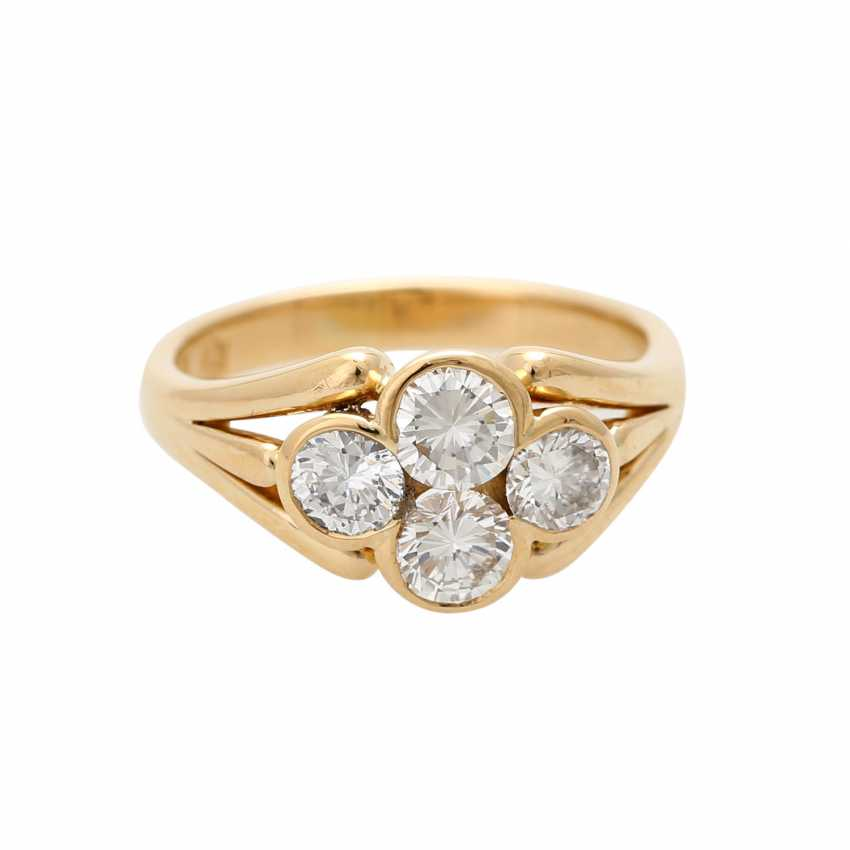 Ring with 4 brilliant-cut diamonds, approximately 0.7 ct, - photo 1