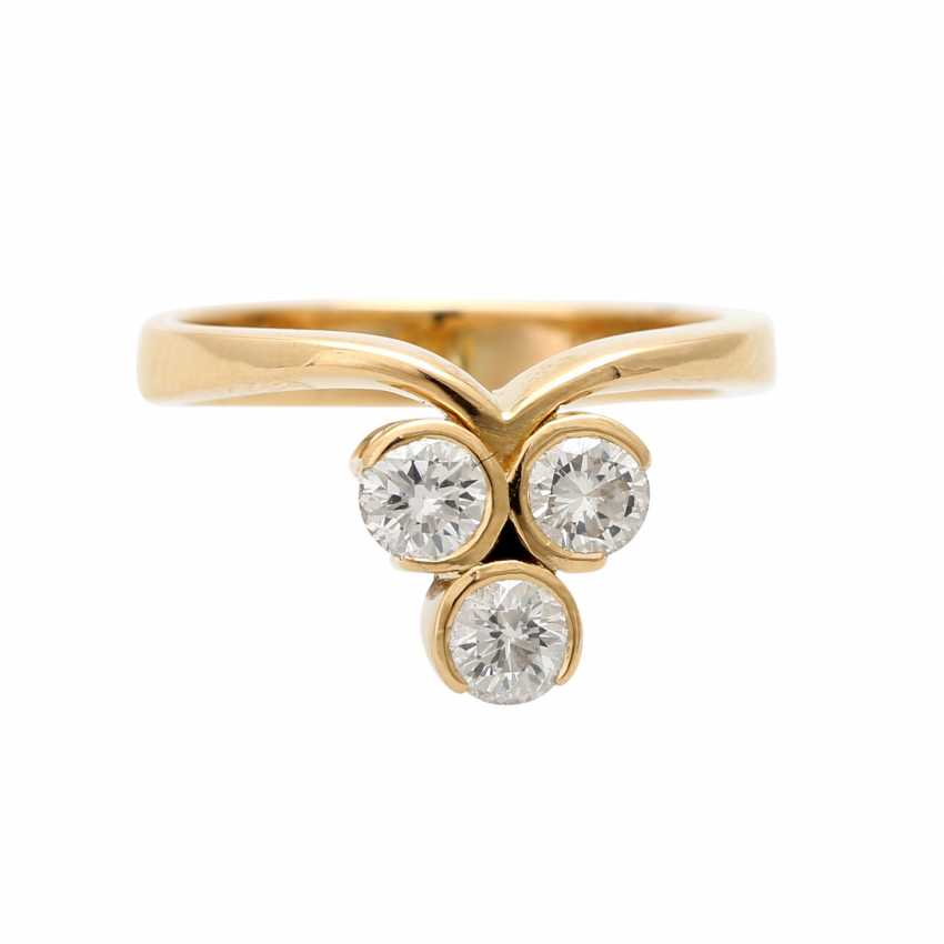 Ring with 3 brilliant-cut diamonds, together ca 0.5 ct, - photo 1