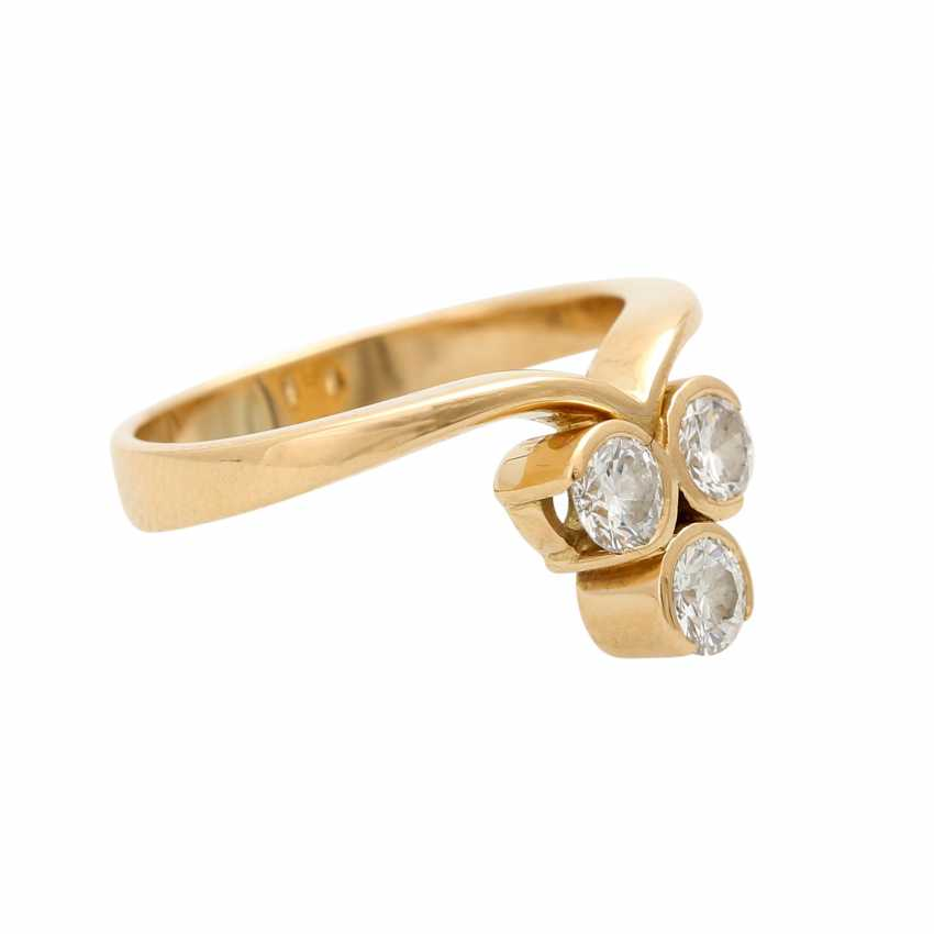 Ring with 3 brilliant-cut diamonds, together ca 0.5 ct, - photo 2