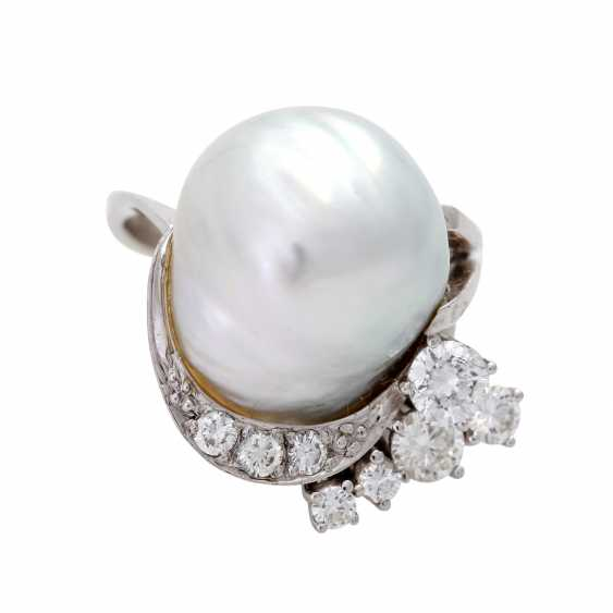 Ladies ring with 1 light-gray cultured pearl - photo 1