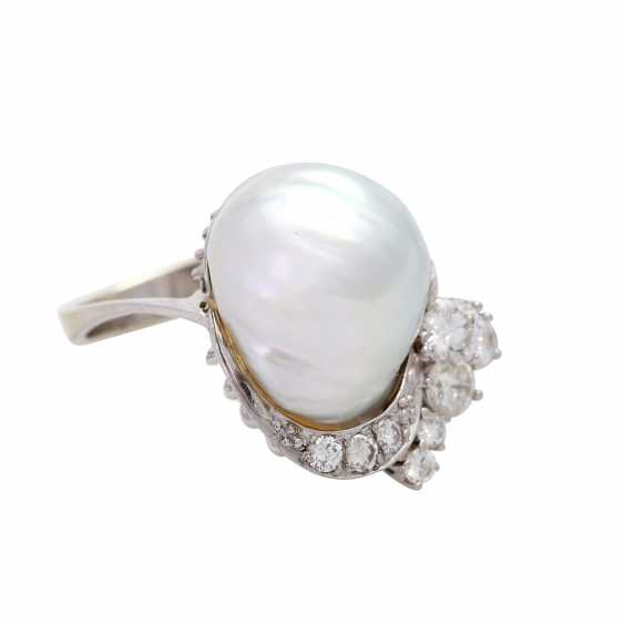 Ladies ring with 1 light-gray cultured pearl - photo 2