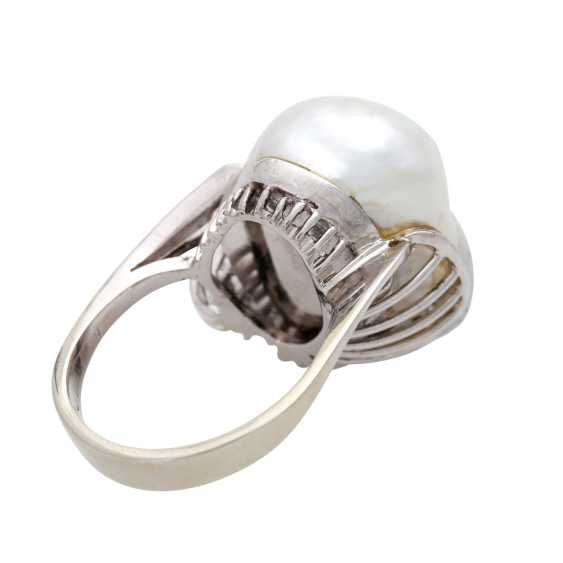 Ladies ring with 1 light-gray cultured pearl - photo 3