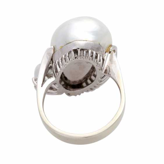 Ladies ring with 1 light-gray cultured pearl - photo 4